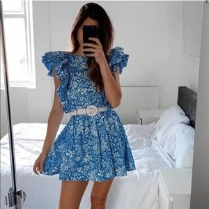 Zara Floral Printed Dress with Frills Blue White